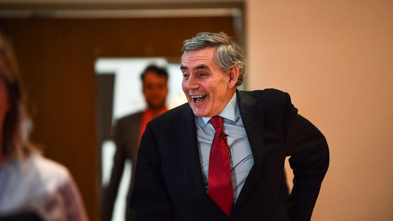 GLASGOW, SCOTLAND - MAY 20: Former Labour Prime Minister Gordon Brown, joined Scottish Labour leader Richard Leonard and the party's candidates for a European Parliament election campaign rally at The Lighthous on May 20, 2019 in Glasgow,Scotland. The former Labour leader urged voters to rally behind the party at a campaign event in Glasgow ahead of the European parliamentary elections this week. (Photo by Jeff J Mitchell/Getty Images)