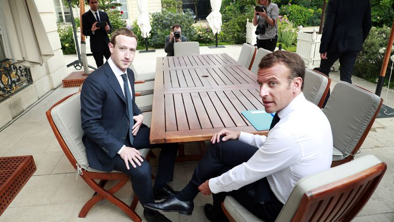"Facebook's CEO Mark Zuckerberg (L) meets with French President Emmanuel Macron (R) at the Elysee presidential palace following the ""Tech for Good"" summit in Paris on May 23, 2018. (Photo by Christophe Petit Tesson / POOL / AFP)        (Photo credit should read CHRISTOPHE PETIT TESSON/AFP/Getty Images)"