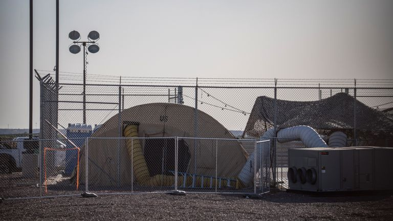 A temporary facility set up to hold migrants is pictured at a United States Border Patrol Station in Clint, Texas, on June 25, 2019. - Lawyers who were able to tour the facility under the Flores Settlement, which governs detention conditions for migrant children, said they witnessed inhumane conditions of overcrowding, and about 250 children being held over the limit of 72 hours, some saying they were there for weeks in overcrowded cells. (Photo by Paul Ratje / AFP)        (Photo credit should read PAUL RATJE/AFP/Getty Images)