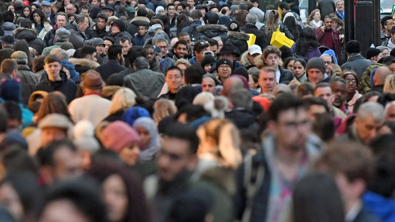 File photo dated 24/12/17 of people on Oxford Street in London. The estimated population of the UK has hit 66.4 million, a year-on-year increase of 0.6%, the Office for National Statistics said.