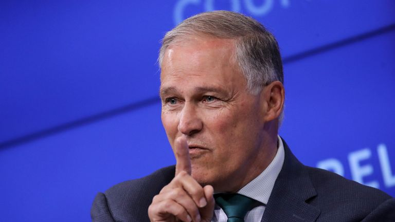 NEW YORK, NY - JUNE 5: Democratic presidential candidate and Governor of Washington Jay Inslee speaks about climate change at the Council on Foreign Relations, June 5, 2019 in New York City. Inslee has made the issue of combatting climate change the central platform of his campaign and has sharply criticized the Trump administration's lack of action on climate issues. (Photo by Drew Angerer/Getty Images)
