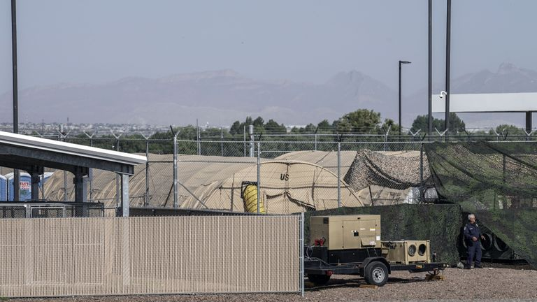 Military tents used to house migrants are pictured at the US Customs and Border Protection facility is seen in Clint, Texas, on June 26, 2019. - The site held about 250 children in crowded cells, with limited sanitation and medical attention, as reported by a group of lawyers able to tour the facility under the Flores Settlement. (Photo by Paul Ratje / AFP)        (Photo credit should read PAUL RATJE/AFP/Getty Images)