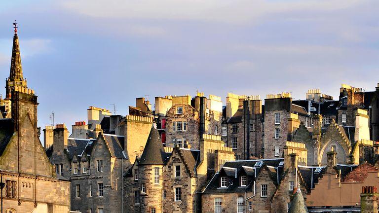 Edinburgh, Scotland, Houses in the Evening Sun, view to high street.
