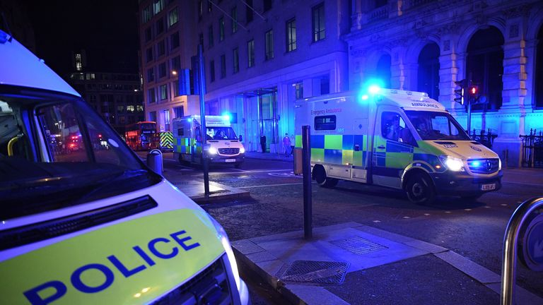 LONDON, ENGLAND - JUNE 03:  Ambulances heads north from London Bridge on June 3, 2017 in London, England. Police have responded to reports of a van hitting pedestrians on London Bridge in central London.  (Photo by Leon Neal/Getty Images)