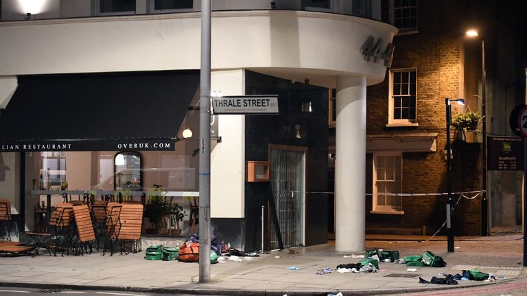 LONDON, ENGLAND - JUNE 04: Debris is strewn outside a cafe near London Bridge on June 4, 2017 in London, England. Police responded to what they are calling terrorist attacks on London Bridge and Borough Market where at least 20 people were injured and one person was killed. (Photo by Carl Court/Getty Images)