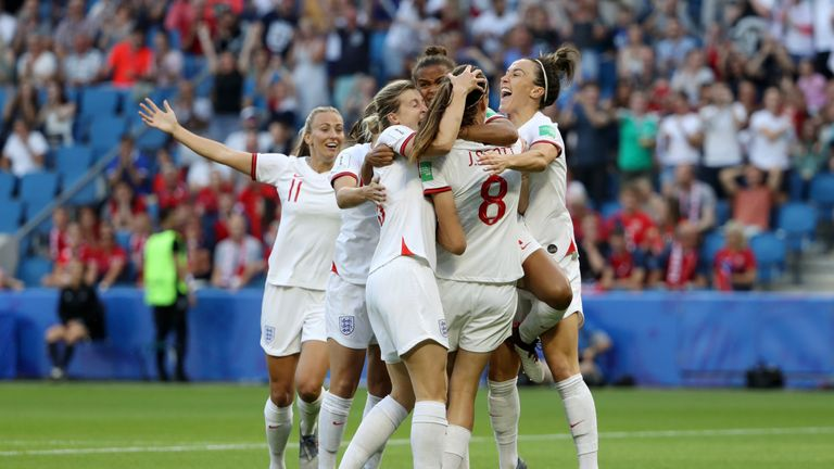 LE HAVRE, FRANCE - JUNE 27:  Jill Scott of England celebrates with teammates after scoring her team's first goal during the 2019 FIFA Women's World Cup France Quarter Final match between Norway and England at Stade Oceane on June 27, 2019 in Le Havre, France. (Photo by Robert Cianflone/Getty Images)