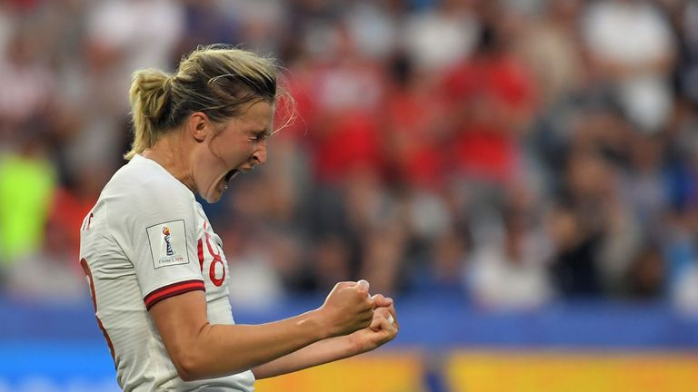 England's forward Ellen White celebrates after scoring a goal during the France 2019 Women's World Cup quarter-final football match between Norway and England, on June 27, 2019, at the Oceane stadium in Le Havre, north western France. (Photo by LOIC VENANCE / AFP)        (Photo credit should read LOIC VENANCE/AFP/Getty Images)
