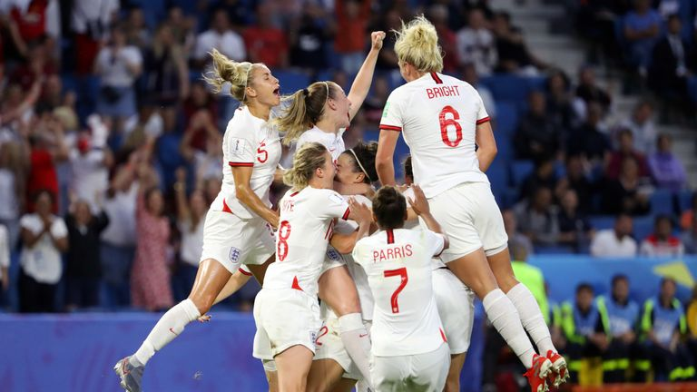 LE HAVRE, FRANCE - JUNE 27:  Lucy Bronze of England celebrates with teammates after scoring her team's third goal during the 2019 FIFA Women's World Cup France Quarter Final match between Norway and England at Stade Oceane on June 27, 2019 in Le Havre, France. (Photo by Robert Cianflone/Getty Images)