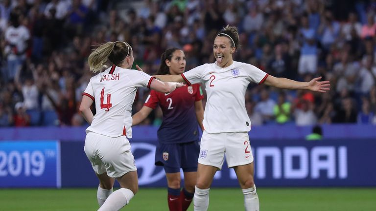 LE HAVRE, FRANCE - JUNE 27:  Lucy Bronze of England celebrates after scoring her team's third goal during the 2019 FIFA Women's World Cup France Quarter Final match between Norway and England at Stade Oceane on June 27, 2019 in Le Havre, France. (Photo by Alex Grimm/Getty Images)