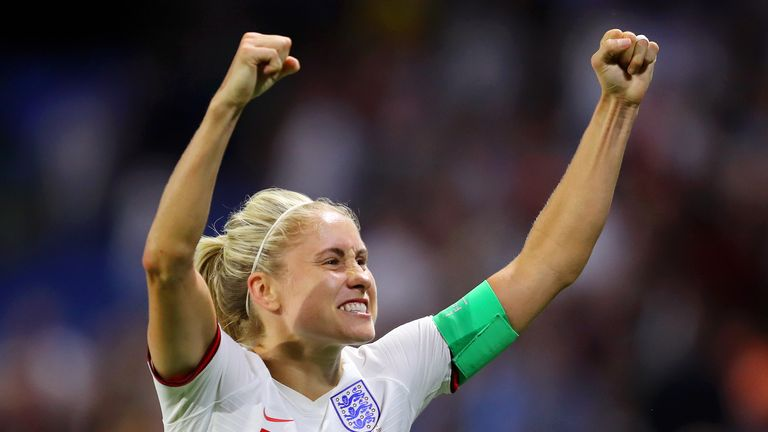 LE HAVRE, FRANCE - JUNE 27:  Steph Houghton of England celebrates following her sides victory in the 2019 FIFA Women's World Cup France Quarter Final match between Norway and England at Stade Oceane on June 27, 2019 in Le Havre, France. (Photo by Richard Heathcote/Getty Images)