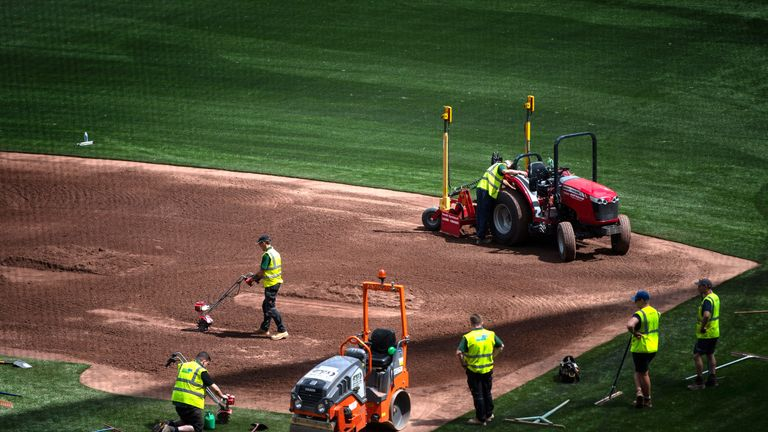 File photo dated 17-06-2019 of Preparations are made to transform the London Stadium in London from a football pitch to a baseball field, ahead of the first regular season Major League Baseball series to occur in Europe, when Boston Red Sox play New York Yankees.