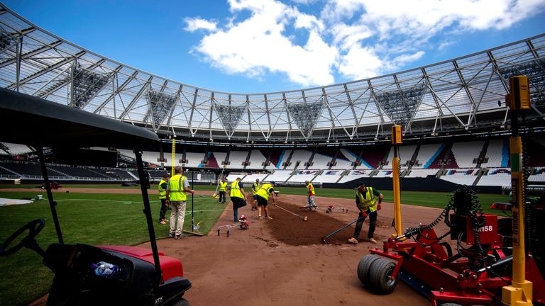 Preparations are made to transform the London Stadium in London from a football pitch to a baseball field, ahead of the first regular season Major League Baseball series to occur in Europe, when Boston Red Sox play New York Yankees.