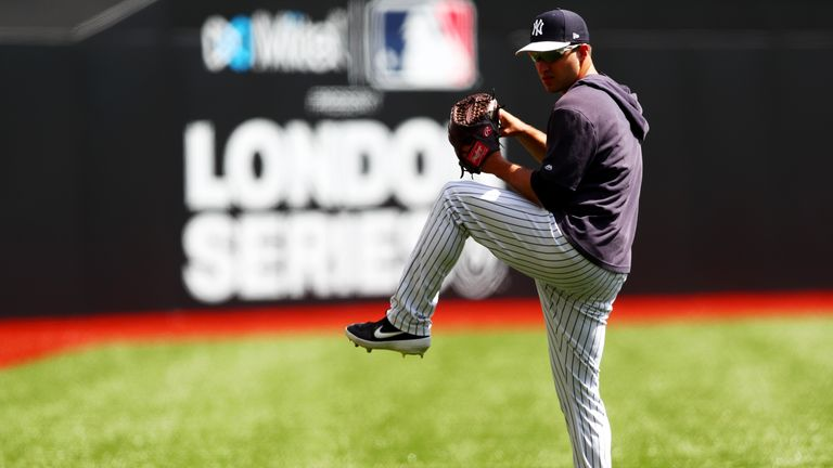 LONDON, ENGLAND - JUNE 28:  David Hale #75 of the New York Yankees takes part in a team workout on the field during previews ahead of the MLB London Series games between Boston Red Sox and New York Yankees at London Stadium on June 28, 2019 in London, England. (Photo by Dan Istitene/Getty Images)