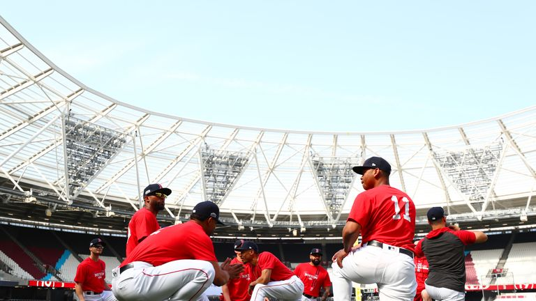 LONDON, ENGLAND - JUNE 28:  Boston Red Sox players take part in a team workoutk on the field during previews ahead of the MLB London Series games between Boston Red Sox and New York Yankees at London Stadium on June 28, 2019 in London, England. (Photo by Dan Istitene/Getty Images)