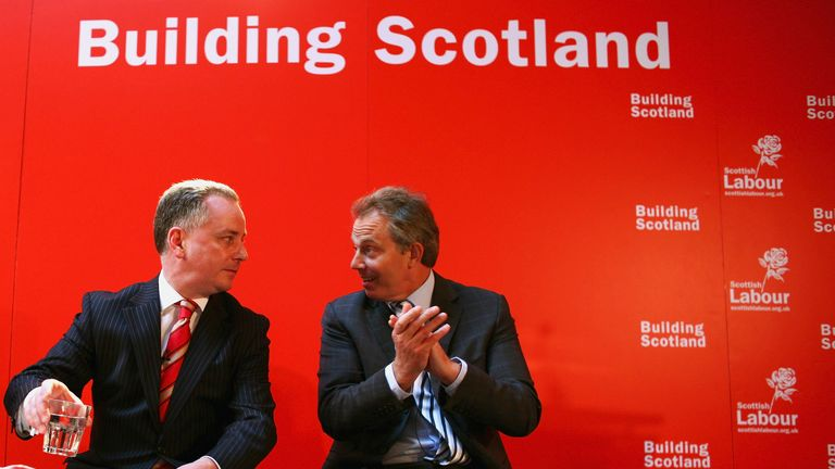 GLASGOW, UNITED KINGDOM - APRIL 13:  Prime Minister Tony Blair and First Minister Jack McConnell make a keynote speech on the choice voters face on the future of Scotland before campaigning on April 13, 2007 in Glasgow, Scotland. The Scottish Parliament and council elections will be held on May 3. (Photo by Jeff J Mitchell/Getty Images)