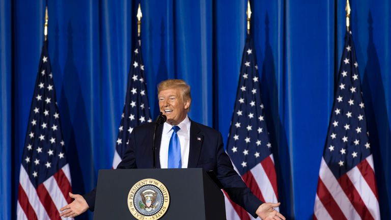 OSAKA, JAPAN - JUNE 29: U.S. President Donald Trump speaks during a press conference after the G-20 Summit on June 29, 2019 in Osaka, Japan. Trump and Chinese President Xi Jinping agreed to resume trade negotiations on Saturday during their meeting in Osaka at the annual Group of 20 summit, in an attempt to resolve a trade deal between the world's two largest economies. According to reports, both leaders agreed that the U.S. would not impose new tariffs during their discussion as world leaders met in Osaka during the two-day G20 summit to discuss economic, environmental and geopolitical issues. (Photo by Tomohiro Ohsumi/Getty Images)
