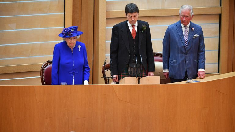 EDINBURGH, SCOTLAND - JUNE 29: Queen Elizabeth II, accompanied by Prince Charles, who is known as the Duke of Rothesay when in Scotland, attends a ceremony to mark the 20th Anniversary of the Scottish Parliament on June 29, 2019 in Edinburgh, Scotland. The ceremony took place almost two decades to the day since the Scottish Parliament officially assumed its legal powers. (Photo by Jeff J Mitchell - WPA Pool/Getty Images)