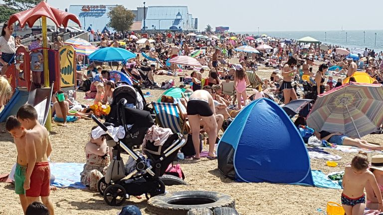 People flock to Southend beach, on the day that could see a new record for a June temperature in the UK.