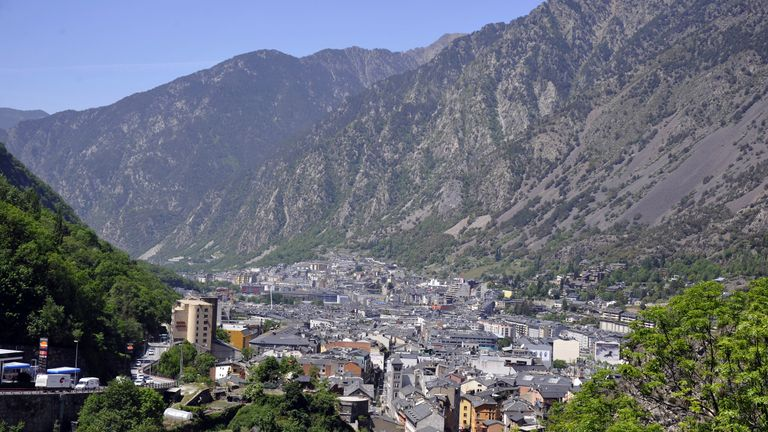 A general view of Andorre-La-Vella, the capital of the Principality of Andorra, in the east Pyrenees between France and Spain, seen on May 12, 2015. AFP PHOTO / PASCAL PAVANI        (Photo credit should read PASCAL PAVANI/AFP/Getty Images)