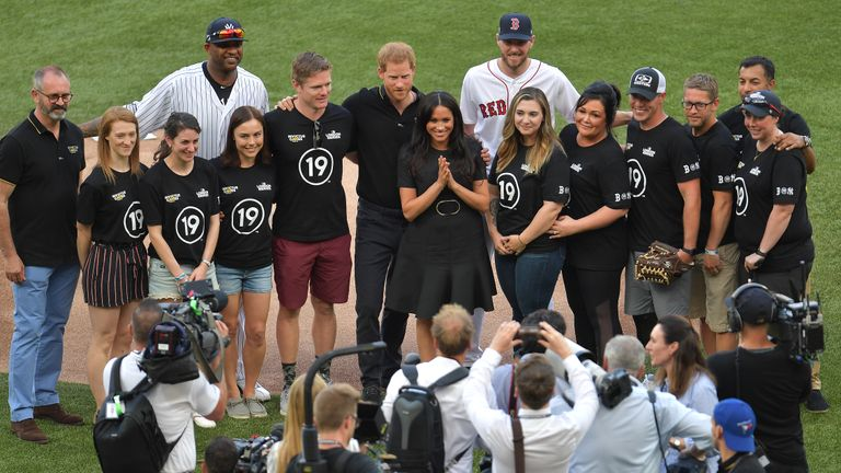 LONDON, ENGLAND - JUNE 29: Prince Harry, Duke of Sussex and Meghan, Duchess of Sussex attend the MLB London Series game between the New York Yankees and the Boston Red Sox at London Stadium on June 29, 2019 in London, England. (Photo by Justin Setterfield/Getty Images)
