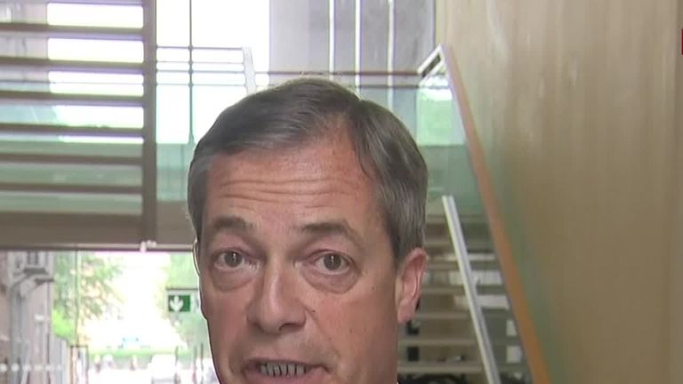 Brexit Party leader, Nigel Farage, talks to Sky News.