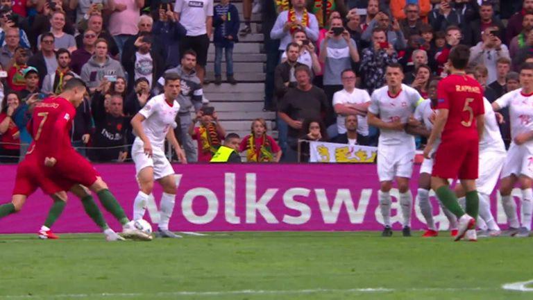 Cristiano Ronaldo hit a trademark free-kick for Portugal against Switzerland