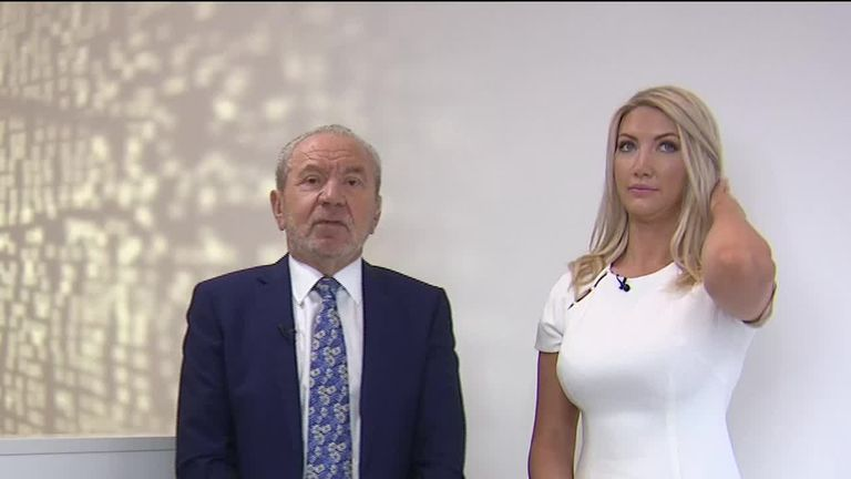 Lord Sugar has told Sky News he back Boris Johnson t obe tory leader and beat Jeremy Corbyn in a general election.