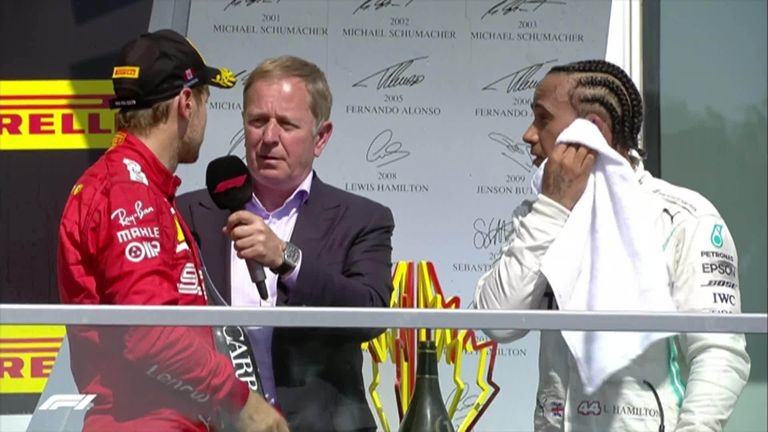 Ferrari's Sebastian Vettel defended Lewis Hamilton on the podium after the crowd started to boo the Mercedes driver