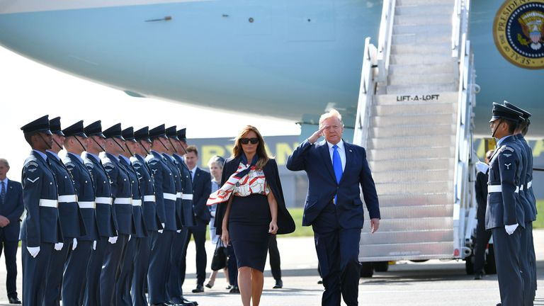 US President Donald Trump and First Lady Melania Trump  arrive in the UK