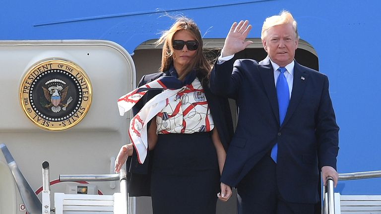 S President Donald Trump and First Lady Melania Trump arrive in the UK