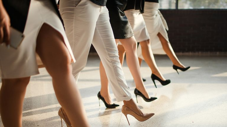 Women in heels at work