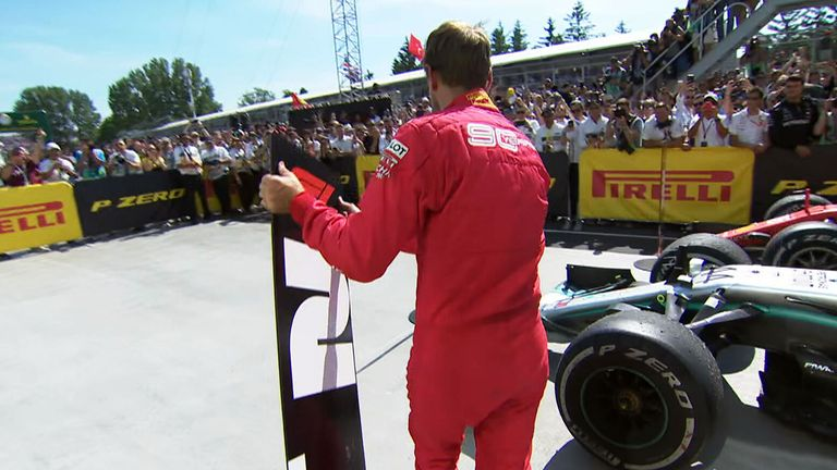 Watch as Sebastian Vettel took the placing of the finishing boards into his own hands in Montreal...