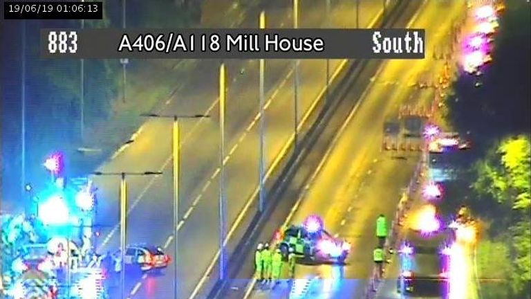 Emergency services closed part of the A406 while they dealt with the fire