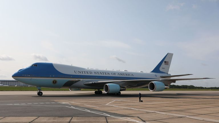 Air Force One sits on the runway of Stanstead Airport