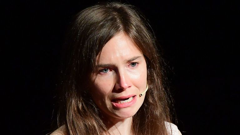 "US journalist Amanda Knox reacts as she addresses a panel discussion titled ""Trial by Media"" during the Criminal Justice Festival"