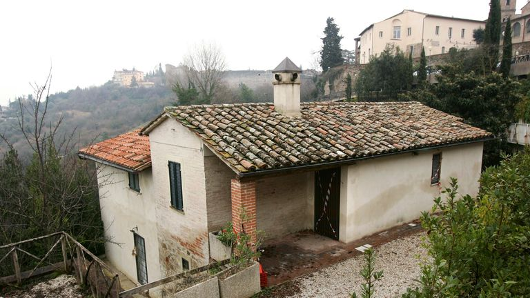 The former home of British murder victim Meredith Kercher is cordoned off with police tape in the Umbrian city of Perugia