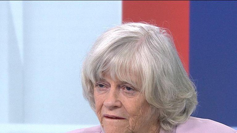 Ann Widdecombe MEP, talking in the Sky News studio.
