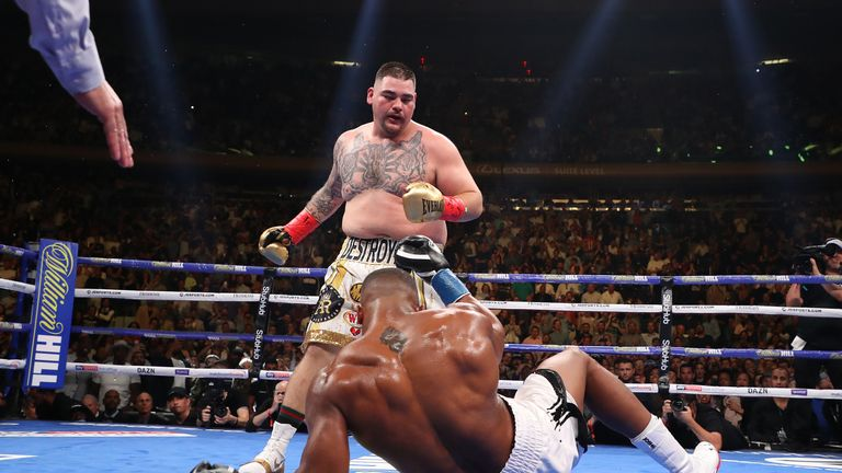 Andy Ruiz Jr knocks down Anthony Joshua in the first round of their heavyweight title fight