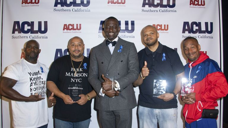 (L-R) Honorees Antron McCray, Raymond Santana, Yusef Salaam, Kevin Richardson and Korey Wise pose during The American Civil Liberties Union (ACLU) of Southern California's 25th annual Awards Luncheon at the JW Marriott at L.A. Live in Los Angeles on June 7, 2019