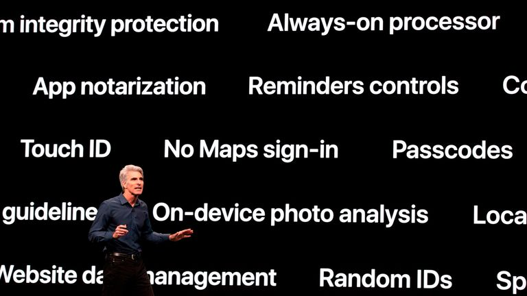 Apple's senior vice president of Software Engineering Craig Federighi speaks during Apple's Worldwide Developer Conference (WWDC) in San Jose, California on June 3, 2019. (Photo by Brittany Hosea-Small / AFP) (Photo credit should read BRITTANY HOSEA-SMALL/AFP/Getty Images)