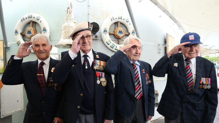 D-Day veterans Arthur Barnes, John Connelly, Nev Lees and Bob Jones from Blind Veterans UK during a photocall on board HMS Belfast in London, to mark the 75th anniversary of the D-Day landings