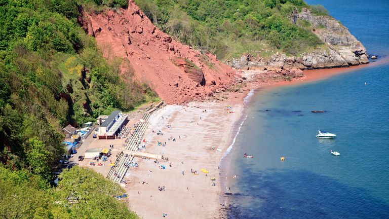Two men were pulled from the water off Babbacombe Beach