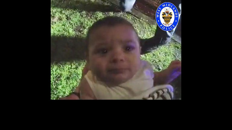 A baby rescued by West Midlands Police. Pic: Police