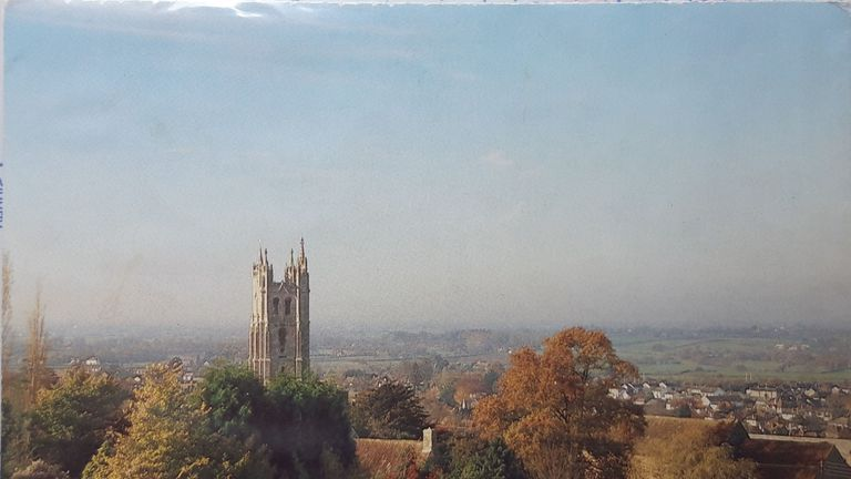 Undated Avon & Somerset Police handout photo of a tear-off post card of a scene of St Andrew's Church, from the direction of Backwell Hill. The postcard is from a calendar sold by the local Bristol Hospice charity in the 1980s or 1990s