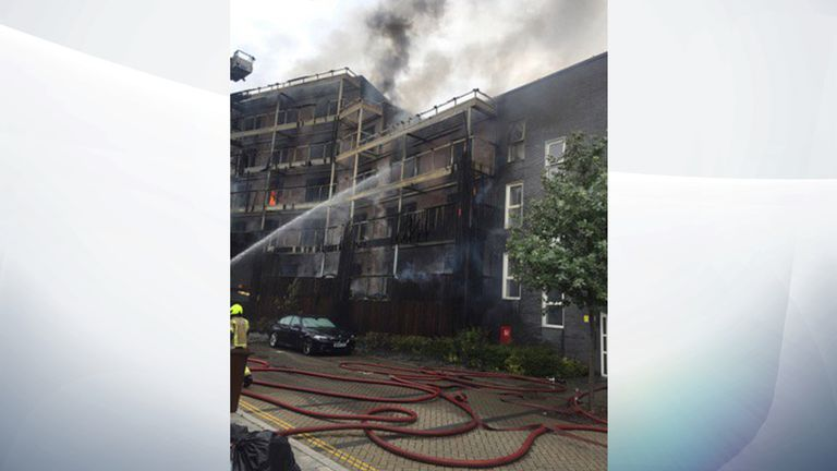 London Fire Brigade said six floors were alight. Pic: Twitter/@LondonFire