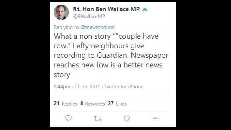 Screengrab taken from the Twitter account of @BWallace_MP