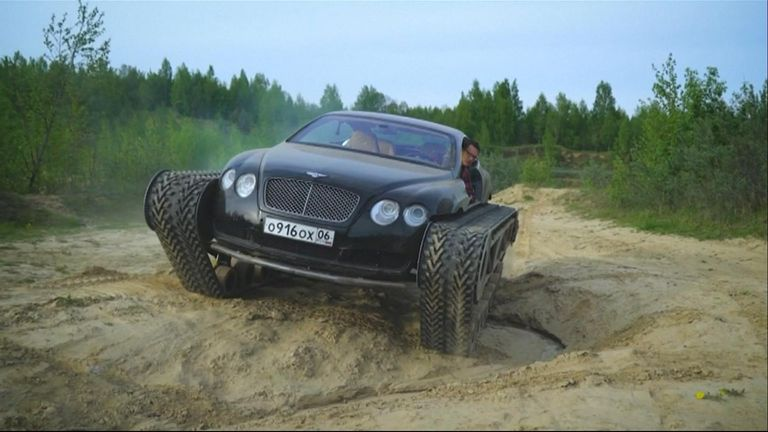 A Russian enthusiast has added tank tracks to a Bentley