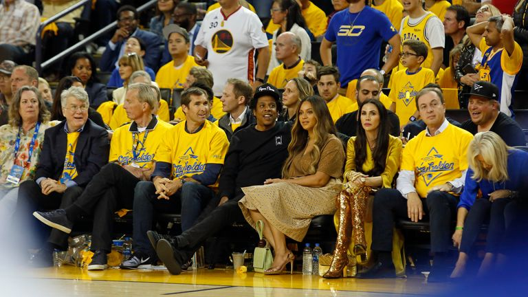 Beyonce and Jay-Z with Golden State Warriors owner Joe Lacob and wife Nicole Curran