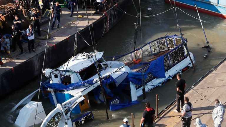 The wreckage of the boat was lifted from the Danube on Tuesday
