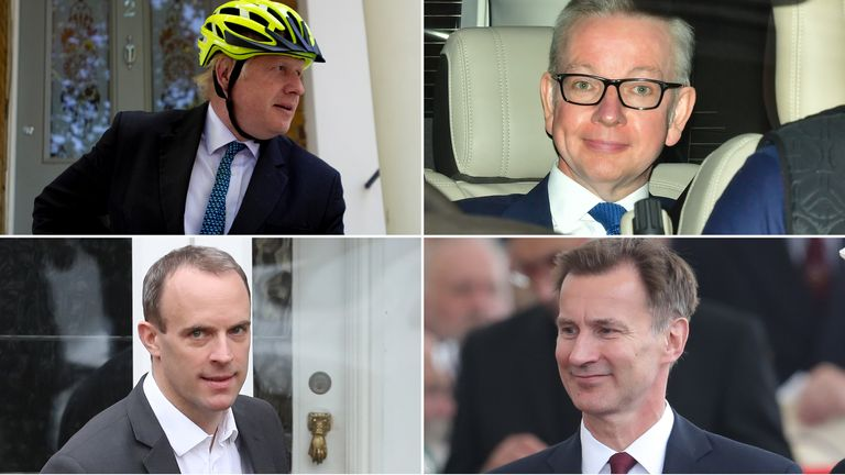 Tory leadership candidates (clockwise from top left) Boris Johnson, Michael Gove, Jeremy Hunt and Dominic Raab